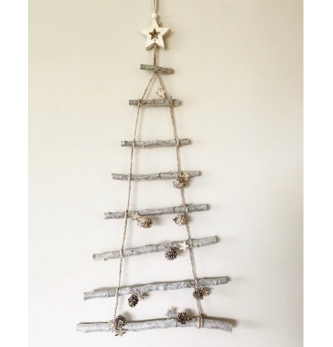 A rustic hanging 8 tiered branch tree with added woodland foliage and simple charms