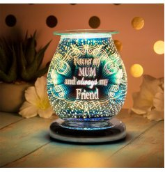 A glass aroma lamp featuring a bold and beautiful 3D LED Light Display and script text finish