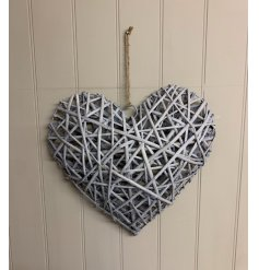 A gorgeous and stylish hanging heart wrapped in a grey wicker finish