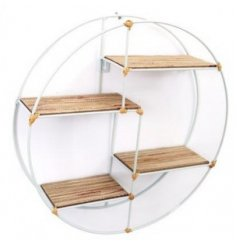a large round shelving unit with natural wood accents