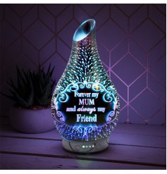 A beautifully decorated 3D Decal Humidifying Lamp with an added LED Aroma Bulb inside and scripted text decal
