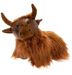 Sure to bring a charmingly rustic feel to any home space, a Faux Leather Doorstop in a cute Highland Cow Shape