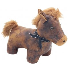 A cute posed Horse doorstop made from a faux leather and fur fabrics