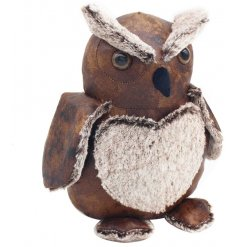 A cute wide eyed owl doorstop made from a faux leather and fur fabric