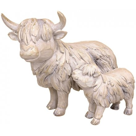 Highland Cow & Baby Driftwood Ornament