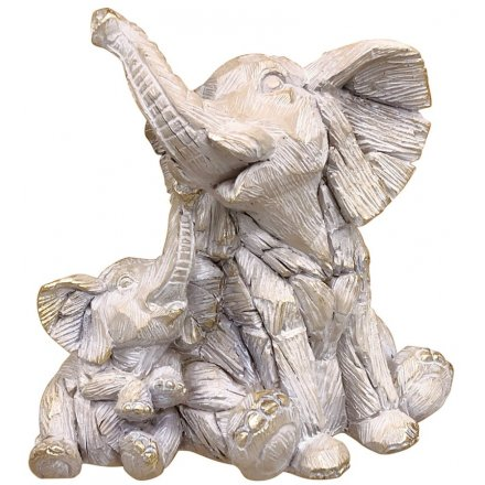 Elephant & Baby Driftwood Ornament