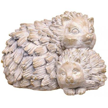Hedgehog & Baby Driftwood Ornament