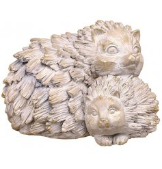 A posed Hedgehog and Baby Resin Ornament intended to look like Natural Drift Wood
