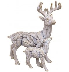 A posed Stag and Baby Resin Ornament intended to look like Natural Drift Wood