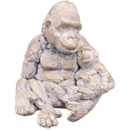 Gorilla & Baby Driftwood Ornament