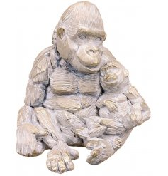 A beautiful ornamental Gorilla and Baby figure set with a Driftwood inspired look