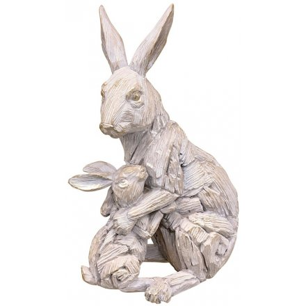 Hare & Baby Driftwood Ornament