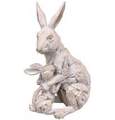 A beautiful ornamental Hare and Baby figure set with a Driftwood inspired look