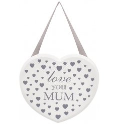 A white wooden heart shaped plaque featuring a grey ribbon hanger and dotted silver heart decals