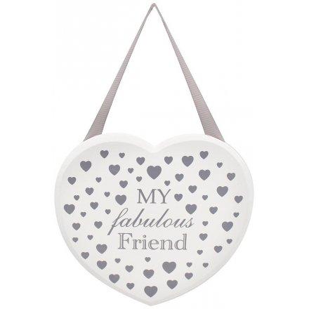 Silver Heart Hanging Plaque - Fabulous Friend
