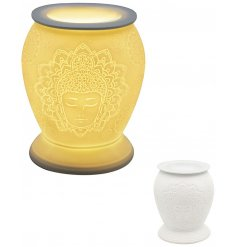 A beautifully detailed ceramic based aroma lamp featuring a Buddha and Mandala inspired embossed design and warm glowin