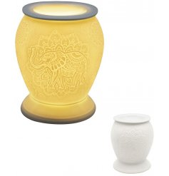 A white ceramic based aroma lamp complete with an embossed Elephant and Mandala decal and an added dipped dish top for o
