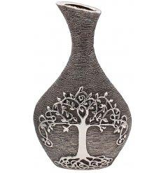 A Gun Metal Grey toned ceramic ornamental vase featuring an embossed Tree of Life decal