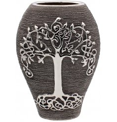 A Gun Metal Grey toned ceramic vase featuring an embossed tree of life decal