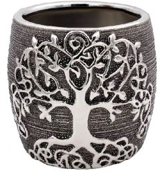 A small ceramic planter set with a trending Gunmetal Grey Tone and embossed Tree of Life decal