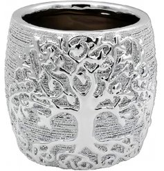 A luxury themed ceramic vase featuring a bold Tree of Life decal and rough silver coating to it