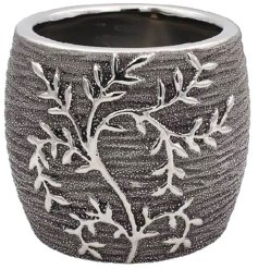 A Gun Metal Grey toned ceramic ornamental planter featuring an embossed climbing leaf decal