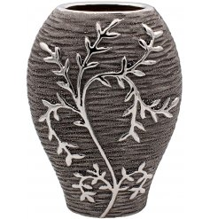 A Gun Metal Grey toned ceramic vase featuring an embossed climbing leaf decal