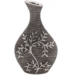 A Gun Metal Grey toned ceramic ornamental vase featuring an embossed climbing leaf decal