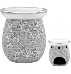 A luxury themed oil burner set with a rough silver finish and climbing leaf decal