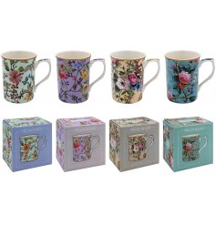 An assortment of beautifully patterned fine china mugs, each set with its own delightful floral decals and colours