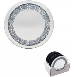 A rounded glass candle plate complete with a mirrored decal and gorgeous glitzy crystal framing