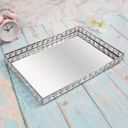 Rectangular Crystal Edged Tray, 41cm