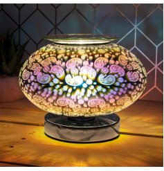 A stunning curved lamp with an oil burner/wax melt feature. Perfect for bringing to any home space needing an illuminati