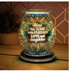 A gorgeous and brightly glowing Aroma Lamp featuring a bold 3D pattern decal and sweetly scripted text finish