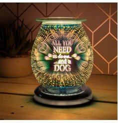 Bursting with bold colours and patterns, this Glass LED Aroma Lamp features a charming text decal