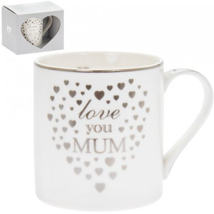 Love You Mum Silver Heart Mug