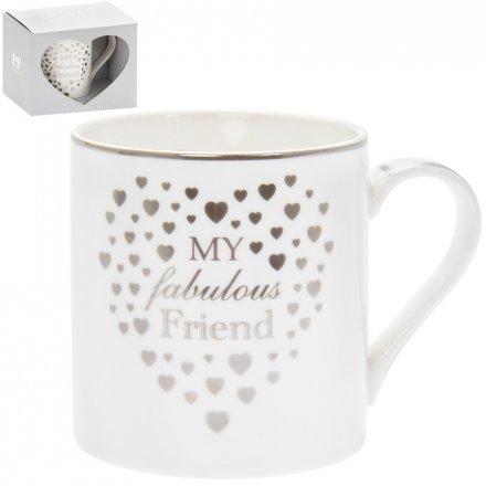 Fabulous Friend Silver Heart Mug