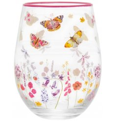 A beautifully decorated stemless glass featuring a delightfully colourful flower and butterfly print