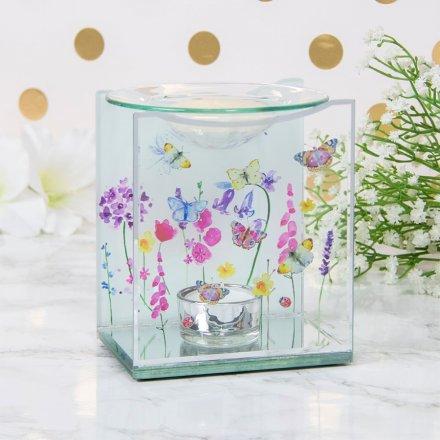 Butterfly Garden Glass Oil Burner
