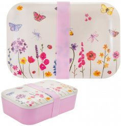 A beautifully decorated bamboo based lunch box with a pretty pink securing band for safety and added freshness