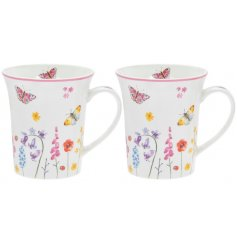this set of fine china mugs are sure to bring a cheery feel to any morning cuppa!