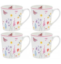 this set of Fine China Mugs features a delightful floral and butterfly decal from the Butterfly Garden Range