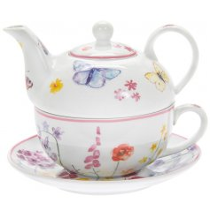 this set of Fine China Tea For One features a delightful floral and butterfly decal from the Butterfly Garden Range