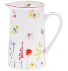 Part of the delightfully themed Butterfly Garden Range, this sleek ceramic jug is sure to display bright blooms in any h