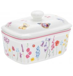A beautifully printed Fine China Butter Dish from the Butterfly Garden range