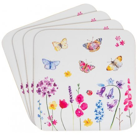 Floral Butterflies Set of 4 Coasters