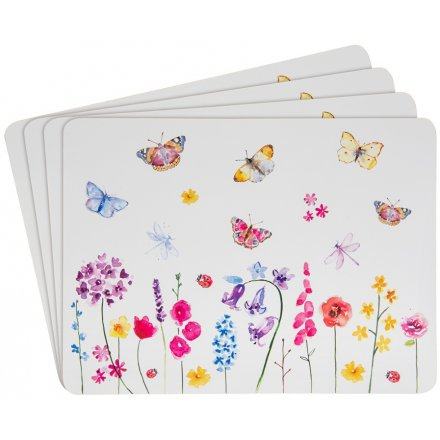 Floral Butterflies Set of 4 Placemats