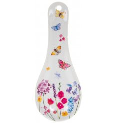 Printed with a delightful Butterfly Garden inspire decal, this small shaped spoon rest sure to add a spring charm to yo