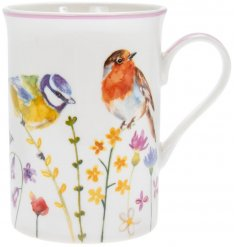 A fine China Mug decorated with a floral decal and garden birds to finish