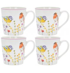 A set of 2 Fine China Mugs decorated with a floral decal and garden birds to finish